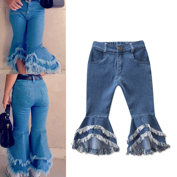 Girls Casual Pocket Solid Bell Jeans Wholesale Girl Clothing