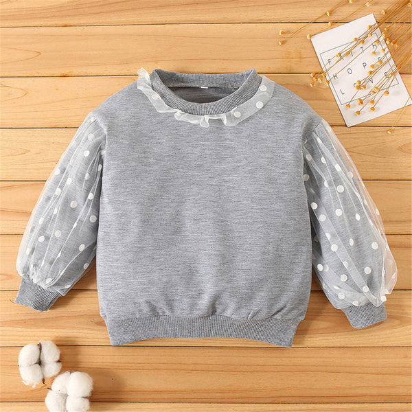 Girls Casual Polka Dot Mesh Long Sleeve Top Wholesale Little Girl Clothing