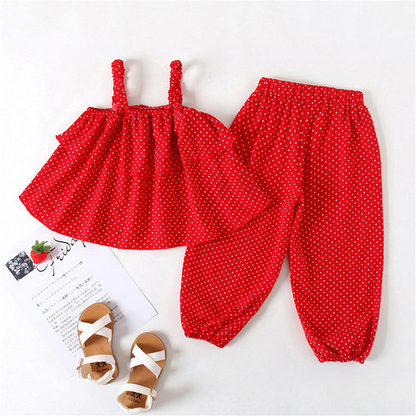 Girls Casual Polka Dot Sling Tube Top & Bloomers Wholesale Little Girl Boutique Clothing
