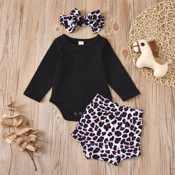 Baby Girls Casual Romper & Leopard Shorts & Headband Babywear Wholesale