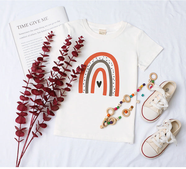 Girls Casual Short Sleeve Rainbow Printed Top children clothing vendors