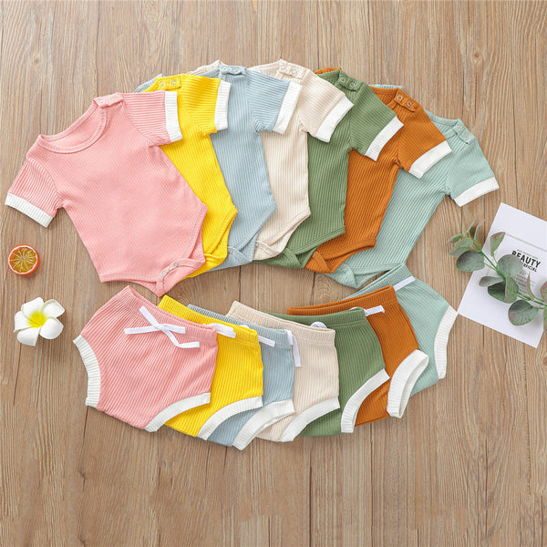 Baby Girls Casual Short Sleeve Romper & Shorts baby clothes wholesale