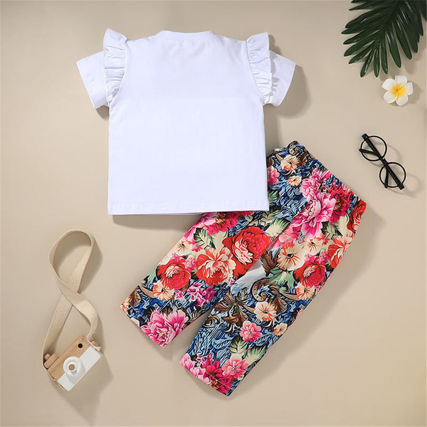 Girls Casual Short Sleeve T-shirt & Floral Pants trendy kids wholesale clothing