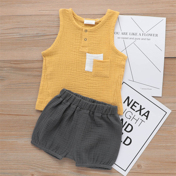 Boys Casual Sleeveless Top & Solid Color Shorts kids boutique wholesale