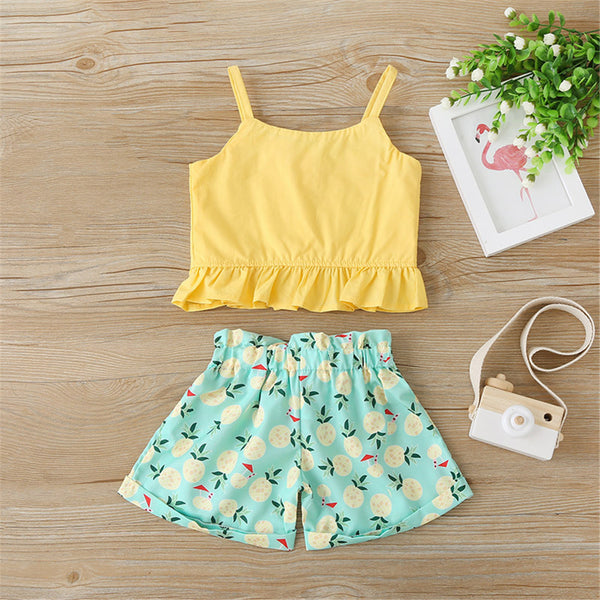 Girls Casual Sling Top & Pineapple Shorts cheap baby girl clothes boutique