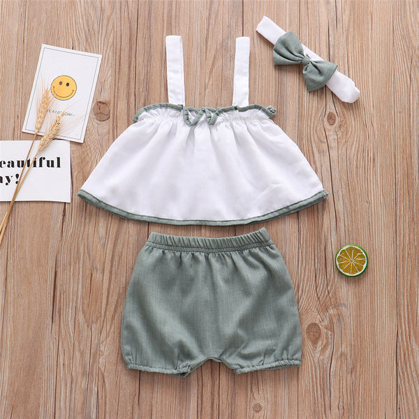 Baby Girls Casual Sling Top & Solid Shorts & Headband cheap baby clothes wholesale