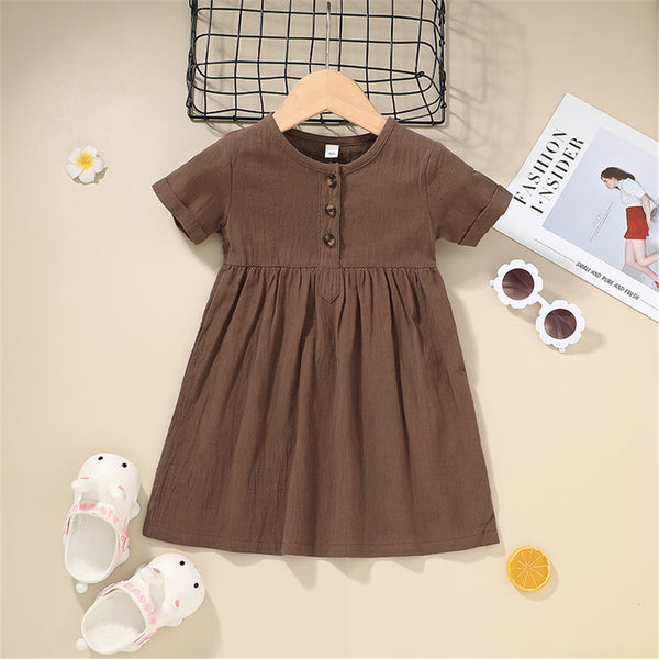 Girls Casual Solid Color Short Sleeve Dress childrens wholesale clothing