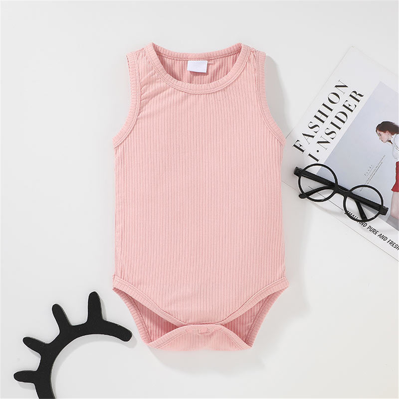 Baby Unisex Casual Solid Color Sleeveless Romper Wholesale Baby Clothes