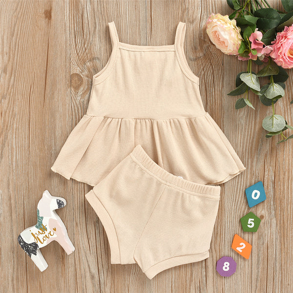 Baby Girls Casual Solid Color Sling Summer Suits baby clothes wholesale usa