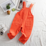 Girls Casual Solid Corduroy Adjustable Straps Jumpsuits