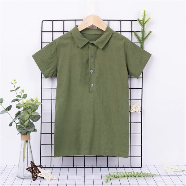 Boys Casual Solid Short Sleeve Lapel Shirts Boy Wholesale Clothing