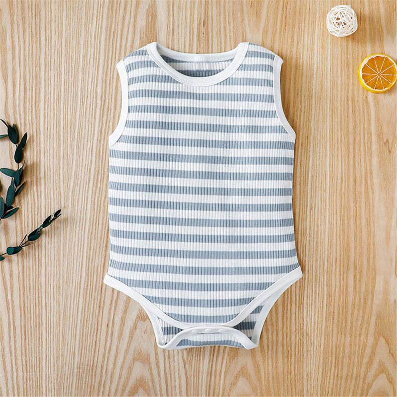 Baby Unisex Casual Stripe Summer Sleeveless Romper Baby Clothes Wholesale Bulk