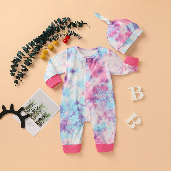 Baby Casual Tie Dye Long Sleeve Romper & Hat
