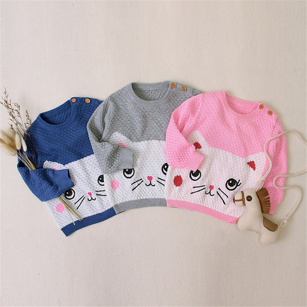 Baby Cat Cartoon Long Sleeve Cute Sweaters