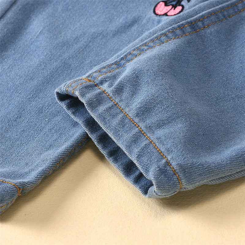 Girls Cherry Fruit Embroidery Denim Trousers Wholesale