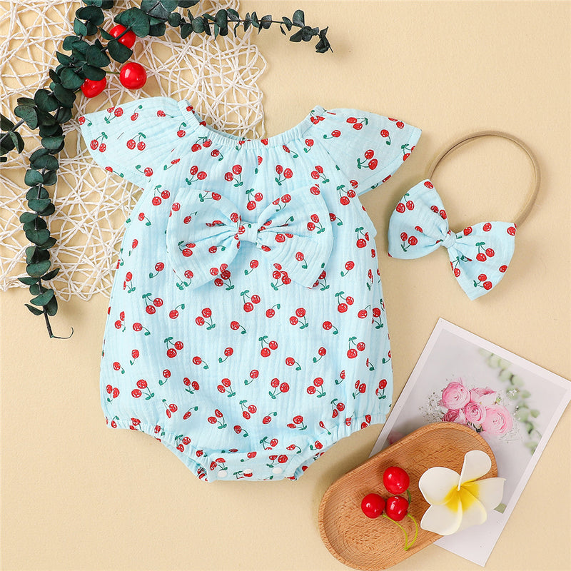Baby Girls Cherry Printed Bow Romper & Headband bulk baby clothes
