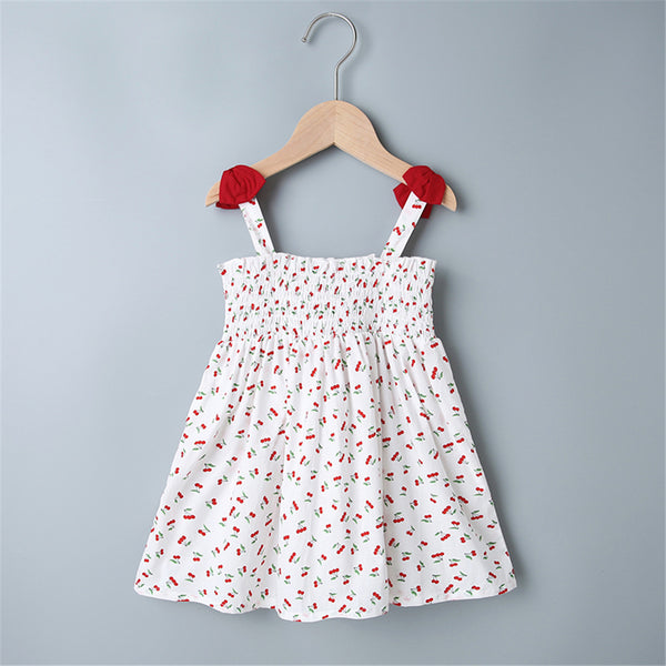 Baby Girls Cherry Printed Bow Sweet Dress Baby Clothing Wholesale