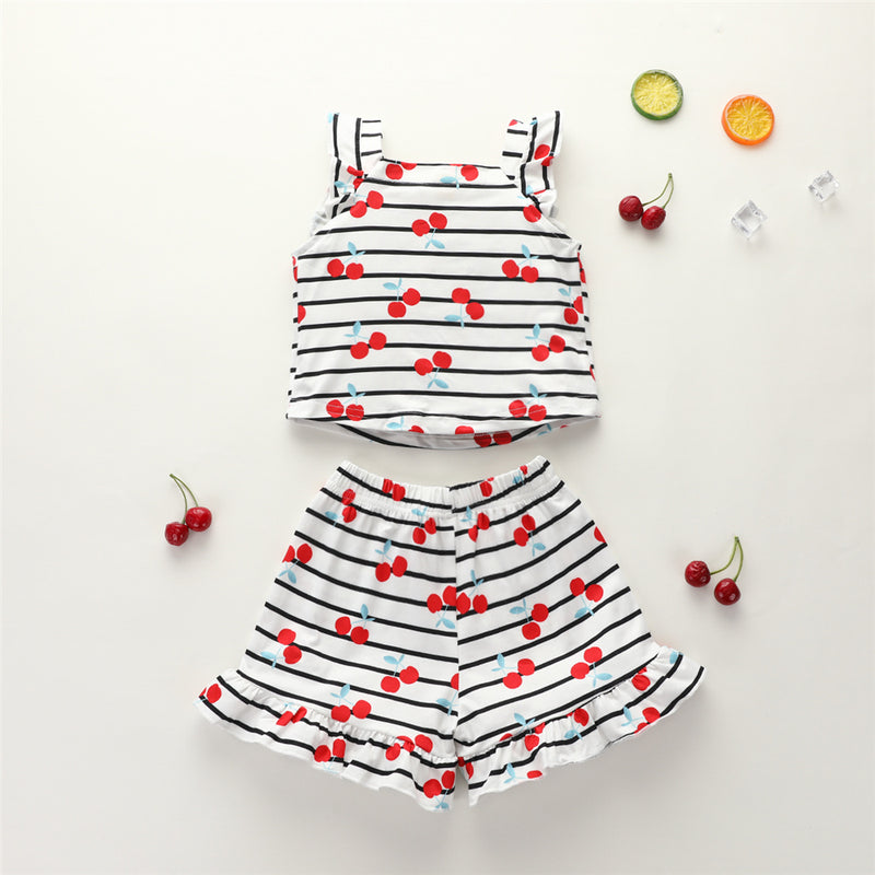 Girls Cherry Printed Striped Sleeveless Top & Shorts Baby Clothing Cheap Wholesale