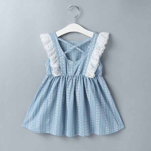 Children'S Clothing Summer Girls Flying Sleeves Cotton Hollow Children'S Blue Lace Dress Girls Dress Wholesale