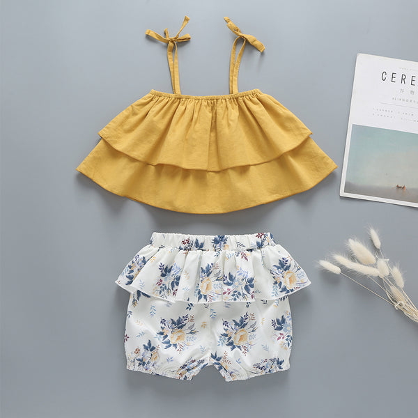 Children'S Clothing Summer New Children'S Clothing Sling Suit Yellow Blouse + Printed Shorts Girl Wholesale