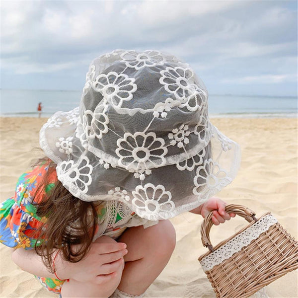 5PCS Children's Fisherman Hat Beach Holiday Lace Mesh Yarn Baby Accessories Wholesale