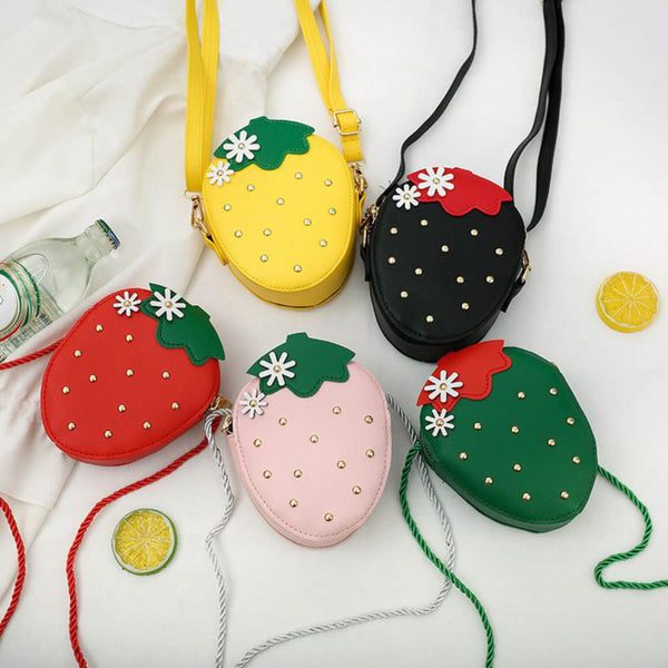 Children's Mini Cute Cartoon Strawberry Satchel Children's Bags Wholesale