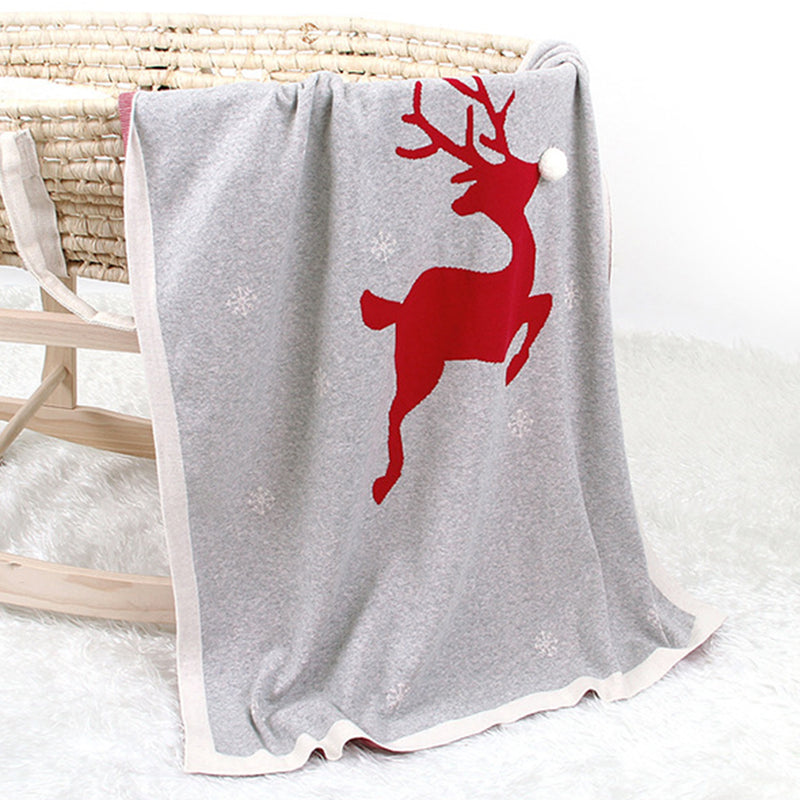 Baby Christmas 3D Elk Cartoon Knitted Blankets Baby Accesories Wholesale