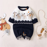 Baby Boys Christmas Cartoon Elk Long Sleeve Romper
