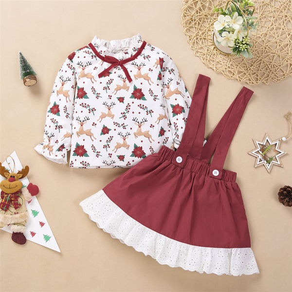 Toddler Girls Christmas Cartoon Print Top & Suspender Skirt Wholesale
