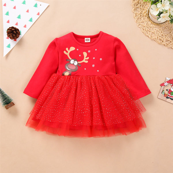 Toddler Girls Christmas Long Sleeve Mesh Dress Girls Clothing Wholesalers