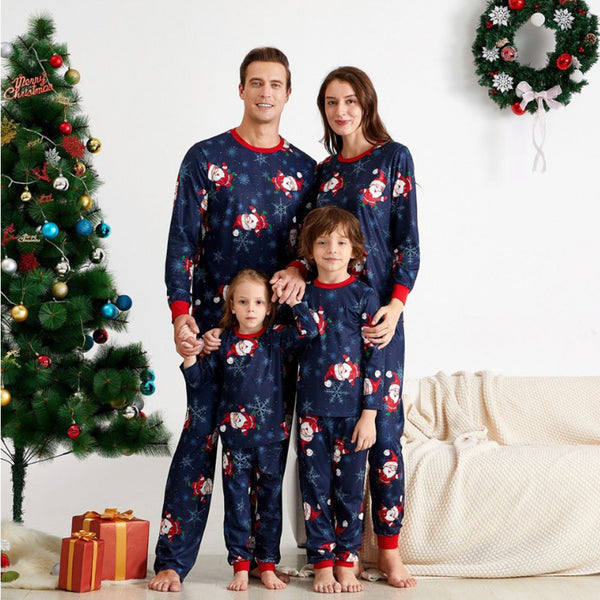 Parent-Child Christmas Long Sleeve Pajamas Suit Mommy And Me Wholesale Clothing