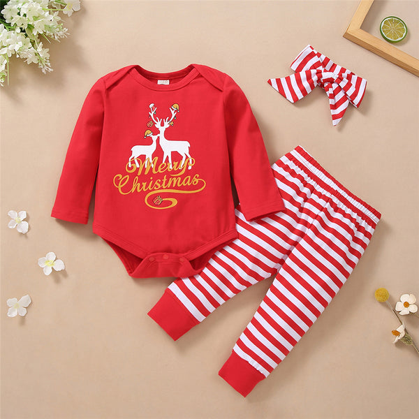 Baby Girls Christmas Long Sleeve Romper & Striped Pants Baby Outfits