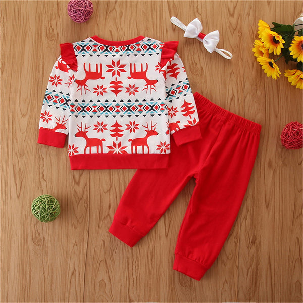 Girls Christmas Long Sleeve Top & Pants & Headband Toddler Girls Wholesale