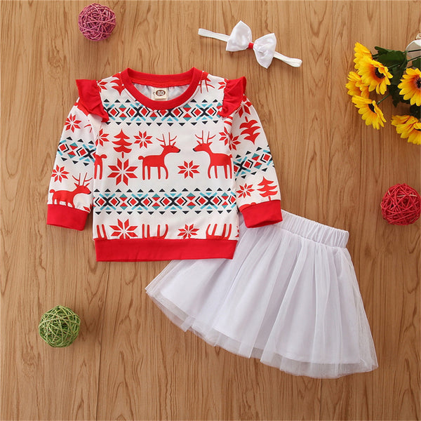 Girls Christmas Long Sleeve Top & Tulle Skirt & Headband Girls Clothing Wholesale