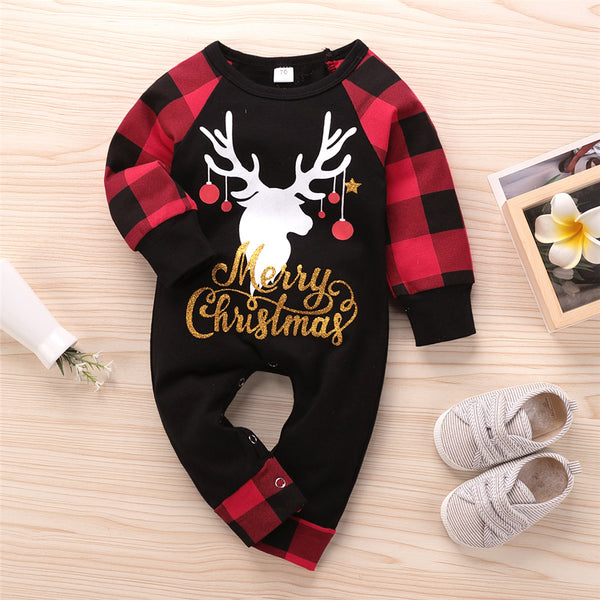 Baby Christmas One Piece Plaid Printed Romper Christmas Baby Clothes