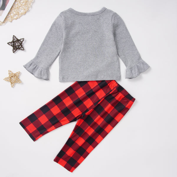 Toddler Girls Christmas Plaid Top & Pants Wholesale Boutique Girl Clothing