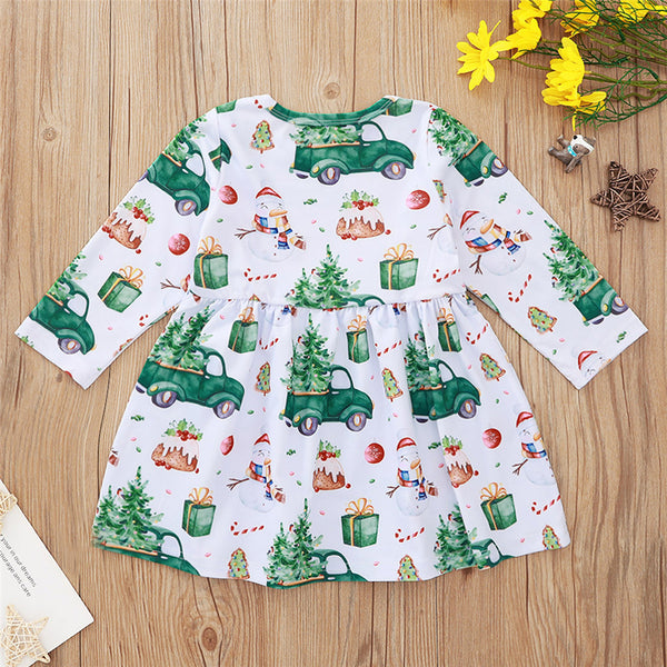 Girls Christmas Printed Long Sleeve Casual Girl Dress Wholesale