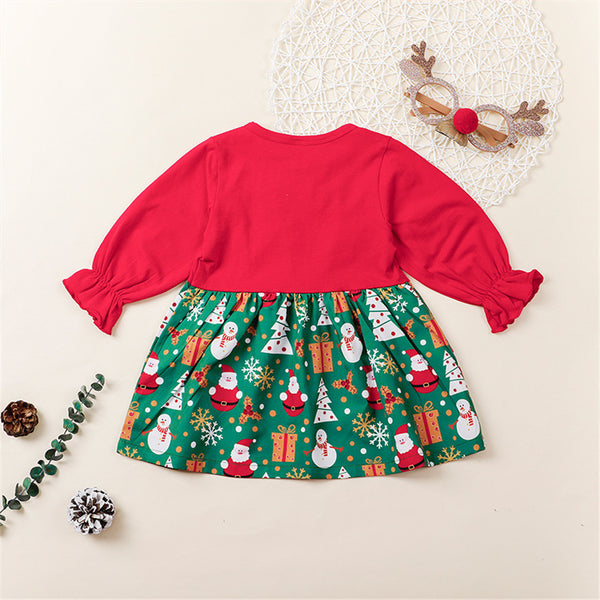 Girls Christmas Printed Long Sleeve Toddler Girls Wholesale Dresses
