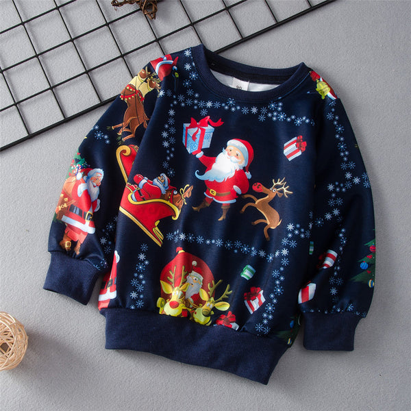 Boys Christmas Printed Long Sleeve Tops Wholesale Boy Clothes