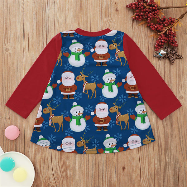 Girls Christmas Snowman Print Long Sleeve Dress Wholesale Girls
