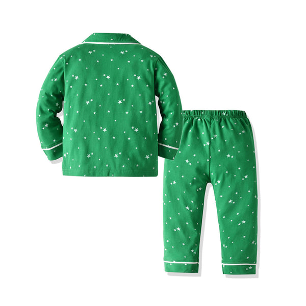 Children Christmas Star Printed Long Sleeve Pajamas Sets Wholesale Kids Clothing Supplier