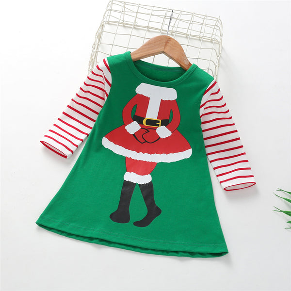 Girls Christmas Striped Long Sleeve Dress Wholesale Clothing For Children