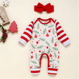 Baby Christmas Striped Long Sleeve Romper & Headband