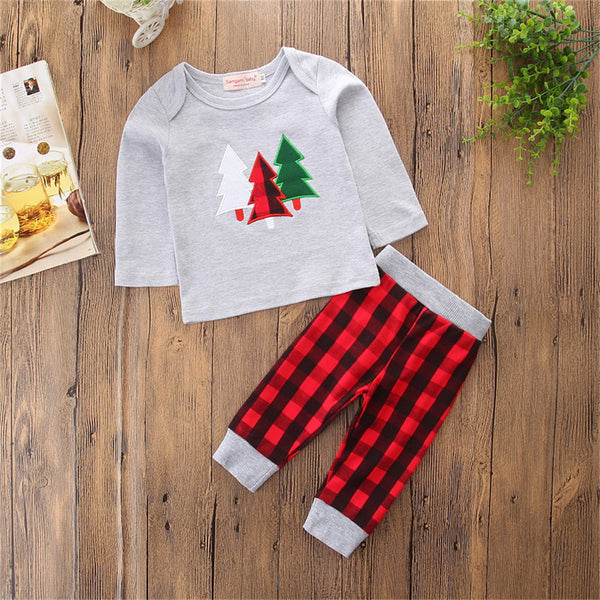 Boys Christmas Tree Long Sleeve Top & Plaid Pants Wholesale Boys Clothing Suppliers