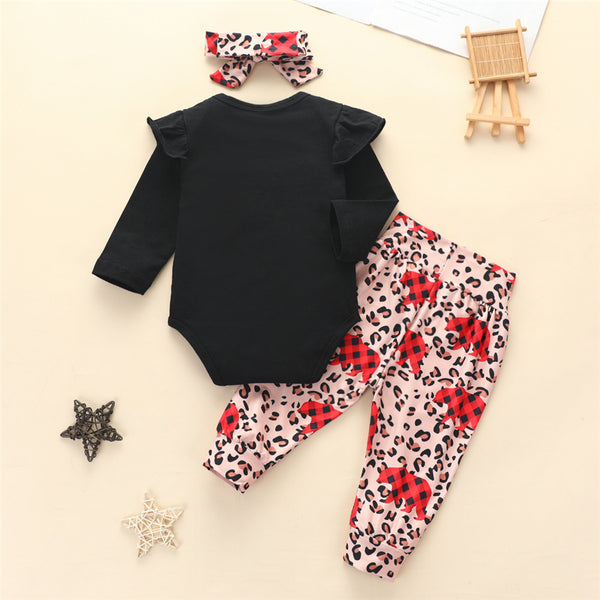 Baby Girls Christmas Tree Romper & Bear Pants & Headband Baby Outfits