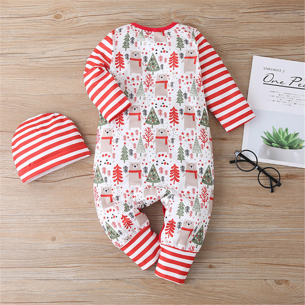 Baby Christmas Tree Striped Long Sleeve Romper & Hat Christmas Baby Clothes