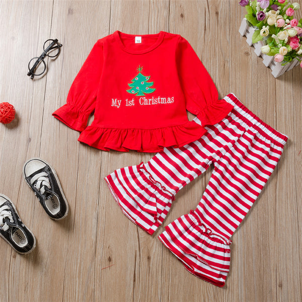Baby Girls Christmas Tree Top & Striped Bell Pants Wholesale Baby Cloths