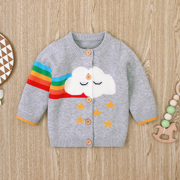 Baby Girls 4PCS Cloud Rainbow Print Long Sleeve Sweaters