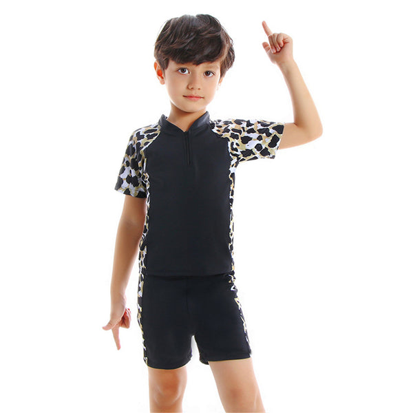Boys Coconut Tree Leopard Printed Short Sleeve Top & Shorts & Swimming Suit Toddler 2 Piece Swimsuit