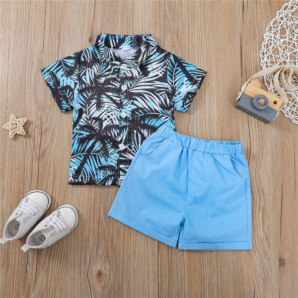 Boys Coconut Tree Printed Short Sleeve Lapel Shirts & Blue Shorts wholesale boy boutique clothes